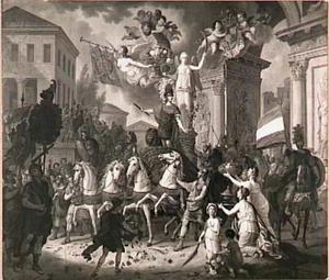 Allegorie op de terugkeer van de Prins van Oranje na de slag bij Waterloo, 1815