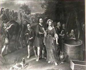 Eliezer geeft Rebekka het hoofdsieraad en de armband (Genesis 24:22)