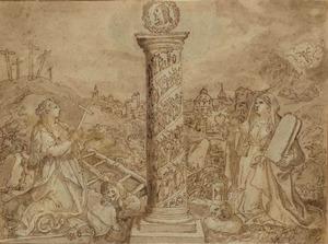 Christelijke allegorie met heiligen, de Calvarieberg, Christus in de hof van Olijven en de passiewerktuigen