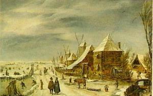 Winterlandschap met molens
