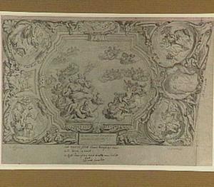 Ontwerp voor een plafonddecoratie, met in het midden een allegorie op Oorlog en Vrede, ni de hoeken de Vier Elementen