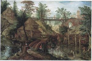 Boslandschap met boerenwoningen bij een beek met vissers; op de achtergrond een houten brug