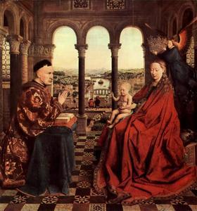 Groepsportret van Maria met Christus en kanselier Nicolas Rolin (1376-1462)