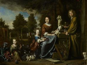 Familieportret van  Sybrand de Flines (1623-1697), Agnes Block (1629-1704) en twee kinderen op de buitenplaats Vijverhof