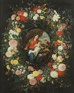 Het mystieke Huwelijk van de H. Catharina omringd door een bloemenkrans