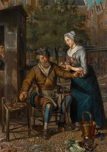 Amsterdams stadstafereel met werkende schoenlapper
