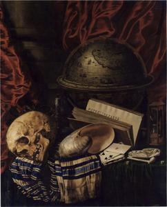 Vanitasstilleven met globe, schedel en nautilusschelp