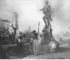 Nebukadnezar ziet de drie jongelingen en een engel in de vurige oven (Daniël 3: 13-24)