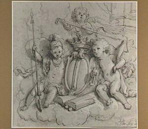 Allegorie op de stad Dordrecht met putti rond het stadswapen