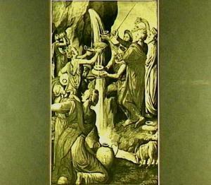 Mozes slaat water uit de rots (Ex.18:6; buitenzijde van het linkerluik van de predella; op de binnenzijde: de twee echtgenoten van Elisabeth van Culemborg in gezelschap van een aantal weesjongens)