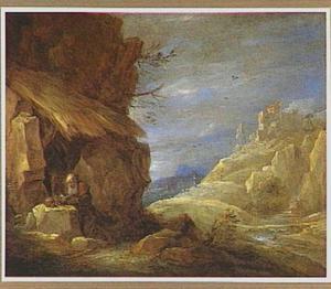 Berglandschap met de heilige Hiëronymus geknield voor zijn kluizenaarsgrot