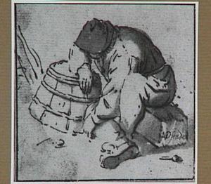 Zittende boer, leunend op een ton