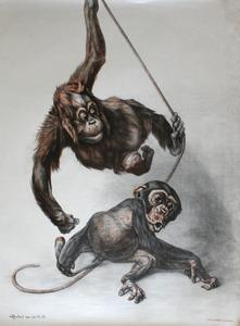 Artis-Affiche: Jonge spelende apen