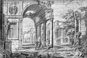 Gefantaseerde Romeinse ruïnes met all'antica geklede figuren