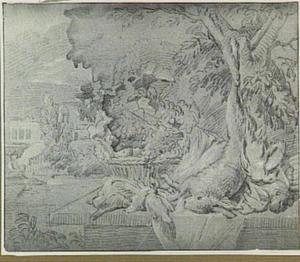 Jachtstilleven met dode haas op een tafel, met doorkijk naar een parklandschap