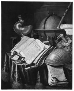 Stilleven met boeken, globe, muziekinstrumenten en een nautilusbeker