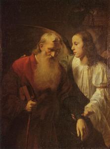 De oude Tobias en de engel Rafaël