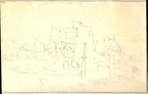 Velp (Grave) gezicht op de ruïne van het kasteel (Bronckhorst?) en de Sint Vincentiuskerk