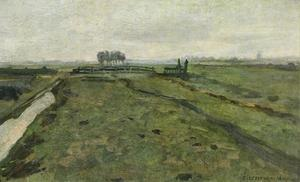 Polder landscape with irrigation ditch and fence