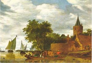 Rivierlandschap met veerboot, een kasteel op de rechteroever