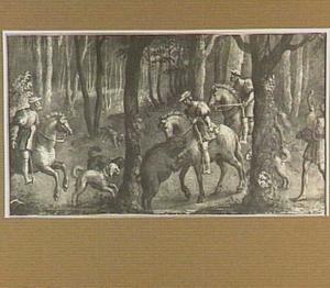 Jachtscène met keizer Maximiliaan I van Oostenrijk die een everzwijn doodt