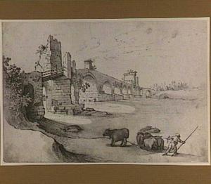 De Ponte Milvio (Molle) te Rome met ossen die de Tiber overzwemmen