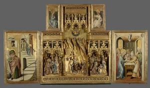 De tempelgang van Maria (binnenzijde linkerluik); Het huwelijk van Maria, de geboorte, de aanbidding der Wijzen (middendeel); De besnijdenis (binnenzijde rechterluik); De kroning van Maria (binnenzijde bovenluiken)