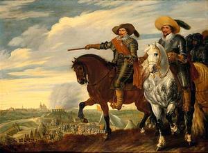 Dubbelportret van Frederik Hendrik van Oranje-Nassau en Ernst Casimir van Nassau bij het beleg van 's Hertogenbosch, 1629