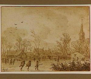 Winterlandschap in een dorp met schaatsers en jagers