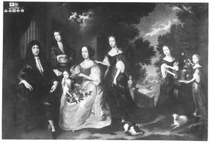 Portret van Jacobus Scheltus (1640-1712), Maria van Steenhuysen (1633-1692) en hun kinderen