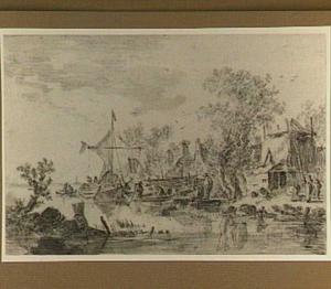 Boerderijen aan de oever van een rivier met roeibootjes
