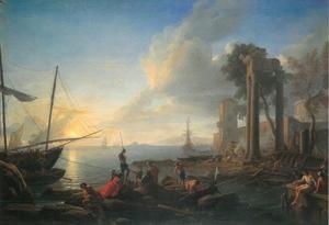 Zuidelijk kustlandschap met figuren en schepen bij een versterkte haven in een baai