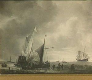 Statenjacht en andere vaartuigen voor een kust; op het strand in de voorgrond wandelen verschillende figuren en speelt een jongen met een hond; rechts op de achtergrond een fregat