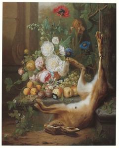 Stilleven met bloemen, vruchten en een dode haas
