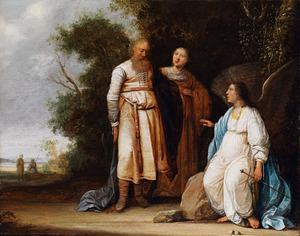 De engel verkondigt Manoach en zijn vrouw de geboorte van hun zoon Simson (Richteren 13:11-18)