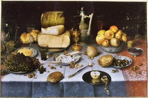 Pronkstilleven met vruchten, kazen, brood en wijn