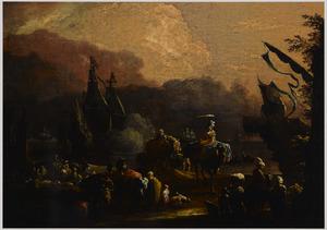 Mediterrane haven met figuren