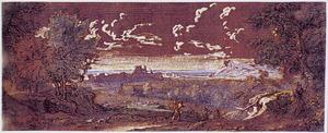 Arcadisch landschap met twee figuren met honden