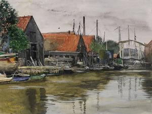 Gezicht op werf in  Dordrecht