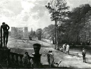 Wandelaars in de tuin bij een villa