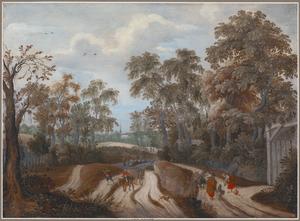 Boeren en reizigers op een weg langs een bos