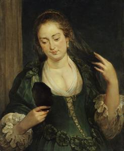 Jonge vrouw met een spiegel (allegorie op de vergankelijkheid)