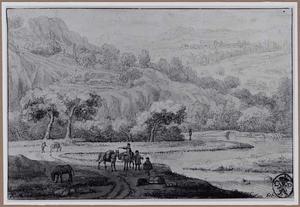 Berglandschap met reizigers bij rivier in dal