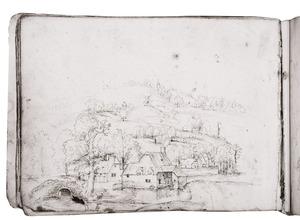 Landschap met dorp en watermolen