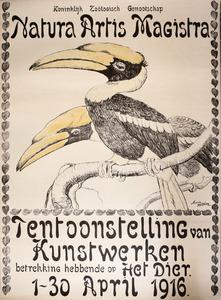 Artis-Affiche: 'Tentoonstelling van kunstwerken betrekking hebbende op het dier'
