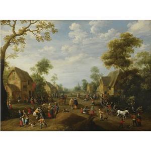 Boerenkermis in een dorp met veel feestende boeren