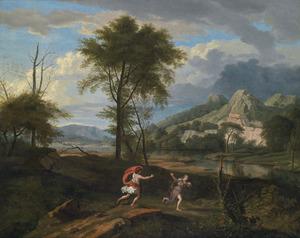 Rivierlandschap met Apollo en Daphne
