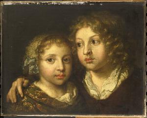 Dubbelportret van twee kinderen van de kunstenaar Caspar Netscher