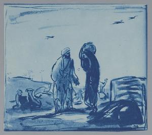 De ontmoeting van Eliezer en Rebecca in het veld (Genesis 24:14-21)