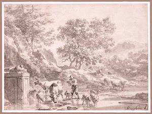 Berglandschap met fluitspelende herder en vee bij een doorwaadbare plaats